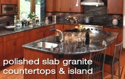 Polished slab granite countertops and island